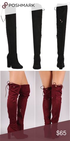 """🌚Suede Over The Knee Boots - Black New with box🌚 Boutique brand🌚 I recommend going up half a size since it runs about a half size small🌚 I am true to size 8 and wear the 8 1/2🌚 Heel:4""""🌚 Srawstring collar🌚 Partial zip closure🌚 Faux suede material🌚 Feel free to ask me any questions🌚 Thanks for browsing my closet!🌚 Shoes Over the Knee Boots"""