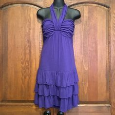 Express Halter Dress EUC only wore once... Beautiful Purple color! No holes or tears and a smoke free home. Express Dresses