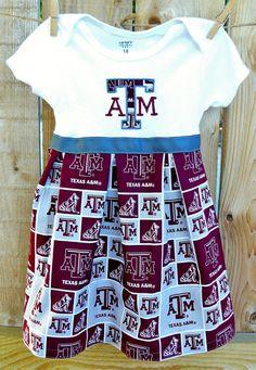 Texas A Onesie Dress. $25.00, via Etsy... Pretty sure Grace will need this @Linda Malnar