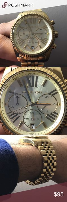 Micheal Kors Watch for men Gold watch, with one scratch on the surface of the dial , and regular wear scratches on straps , but no other major defects! Watch works perfectly and goes neatly along any outfit and or suit ! Michael Kors Accessories Watches