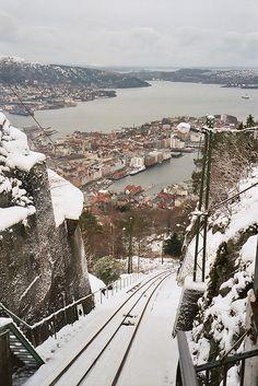 Fløibanen Tracks (funicular) overlooking Bergen, Norway