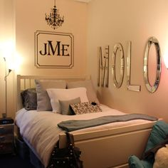 Mirror monograms make this room unique and put together. Did we mention this is a college room? Get Preppy College Dorm Room Ideas like this on Uscoop.com!