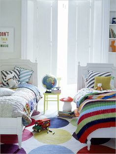 Bedroom , 30 Great Ideas for Shared Kids Room : Shared Kids Room Shared Kids Bedroom In Stripes And Dots