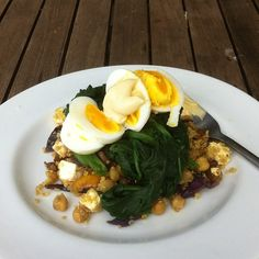 #Brunch: Curried quinoa, chickpea and red cabbage salad with wilted spinach and a boiled egg. Mmmmm #can'twait #yum #vegetarian