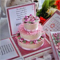 Pudełko i kartka - prezent na 18-tkę. Pink Crafts, Paper Boxes, Exploding Boxes, Photo Cards, Scrap, Invitations, Mini, Projects, Inspiration