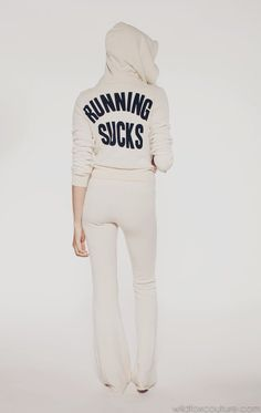RUNNING SUCKS- WF TRACK SUIT JACKET at Wildfox Couture in  CERULEAN, CERAMIC WHITE, KNIGHT BLACK