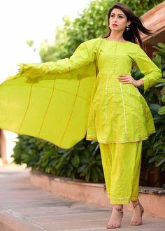 Greenish Gotta Work Suit Set With Heavy Gotta Dupatta Sharara Designs, Kurta Designs Women, Cotton Salwar Kameez, Salwar Suits, Simple Kurta Designs, Kurta Style, Designer Punjabi Suits, Afghan Dresses, Work Suits