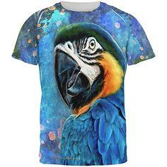 Blue Hyacinth Macaw Splatter All Over Mens T Shirt Multi ...
