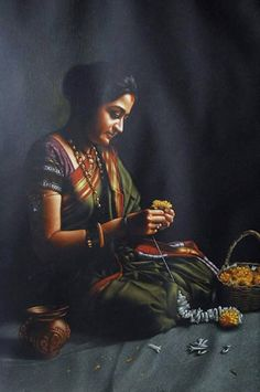 This Artist Created Realistic Art Without Paints, And It's Simply Stunning Indian Artwork, Indian Art Paintings, Ravivarma Paintings, Indian Women Painting, Indian Artist, India Painting, Woman Painting, Om Namah Shivaya, Indian Drawing