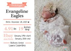 Laura Reborn Dolls *Prototype Evangeline* by Laura Lee Eagles AVAILABLE on EBAY www.ebay.com/... #RebornDolls #RebornBabyDolls #LauraCosentino #LauraRebornDolls #LauraLeeEagles #Dolls