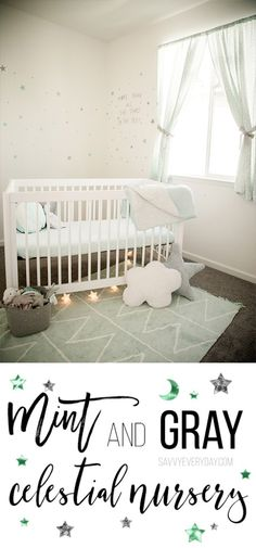 Mint and Gray Star and Moon Nursery Design