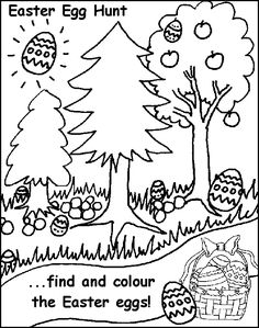 Easter Egg Hunt Free Coloring Pages for Kids - Printable Colouring Sheets