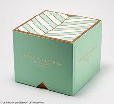 Packaging pâtisserie: vert menthe, blanc et or - simplicité du nom - graphisme motif