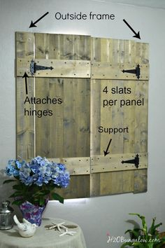 Make these old world inspired interior wood shutters in a weekend to add charm to a room. www.H2OBungalow.com