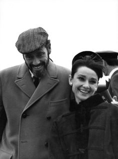 The actress Audrey Hepburn photographed with her husband Mel Ferrer (actor, dialogue coach and film director) by Chris Kindahl during their arrival at the Heathrow Airport in London (England), from Zürich (Switzerland), on January 19, 1965. Audrey...