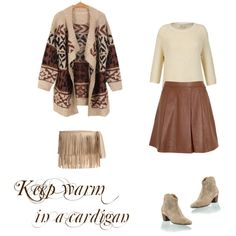 """""""cardigan+skirt+fringe bag"""" by modayotrospecados on Polyvore"""
