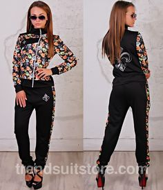 #floral #tracksuit Stylish womens floral zip-up tracksuit