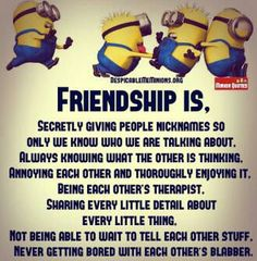 27 Friendship Quotes That You And Your Best Friends - Funny Stuff - Someone Special Quotes, Short Friendship Quotes, Friendship Memes Funny, Frienship Quotes, Friendship Images, Girl Friendship, Quotes Funny Sarcastic, Funny Sayings, Funny Minion Memes