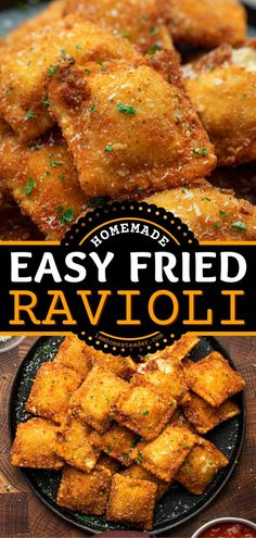 Fried Ravioli is a football party appetizer recipe that starts with cheese ravioli fried in an air fryer and topped with parmesan cheese and parsley. Dip this Gameday food in marinara sauce. It's the best snack idea for Gameday!