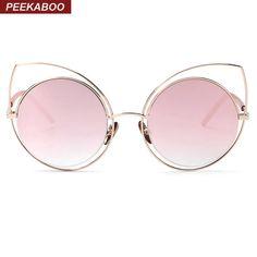 85296a3848 Sexy rose gold cat eye sunglasses women mirror 2016 high quality sunglasses  women luxury brand metal