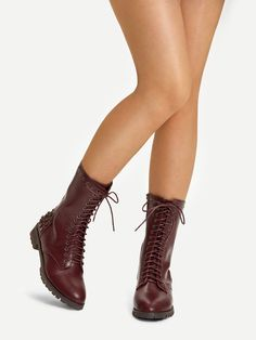 90b10ee8768 SheIn Casual Point Toe Plain Short Side zipper Burgundy Low Heel Chunky  Lace-up Front Rivet Detail Boots