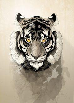 """""""Tiger"""" metal poster by Rafapasta CG #animal"""