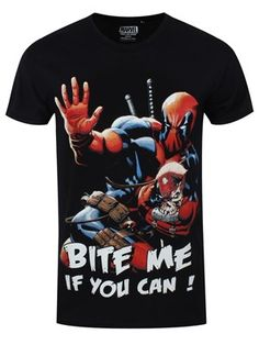 Deadpool certainly doesn't like conforming! This hilarious tee features the unconventional superhero with his hand up as he boldly states, 'Bite me if…