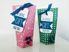 CraftyCarolineCreates: Super Simple Stand Up Gift Box, Video Tutorial using Stampin' Up Perfectly Wrapped and Playful Palette DSP