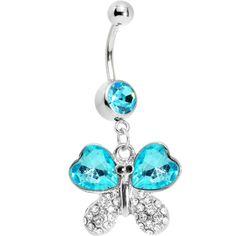 $8.99 Aqua Gem Heart Winged Butterfly Belly Ring