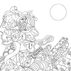 Line Drawing Exhale The Negative Inhale The Positive Done With A Pigma Micron 03 Coloringbook Coloring Pages Space Coloring Pages Unicorn Coloring Pages