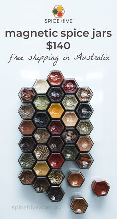 Create a beautifully organised kitchen with these magnetic hexagonal spice jars.  Free shipping Australia-wide.