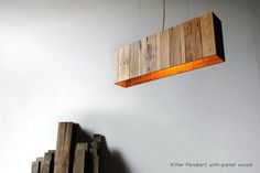 """Kilter Pendant - 38"""" x 6"""" x 13"""", reclaimed pallet wood 