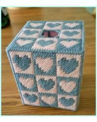 Plastic Canvas Patterns | Everything Plastic Canvas - Quilt Block Hearts Tissue Box Cover