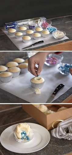 Having a baby announcement party and looking for unique ideas to announce the gender of your baby? Here's a fun way to announce the gender of your baby! These delicious gender reveal cupcakes are filled with either pink or blue colored candy.