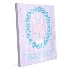 "Click Wall Art 'Rabbit Wreath - Pastel' Graphic Art on Wrapped Canvas Size: 24"" H x 20"" W x 1.5"" D"
