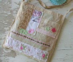 Shabby Chic French Market Bag - Vintage - embellishments - Post Cards in colours - French bag - tote bag - French tote - Vintage fabric