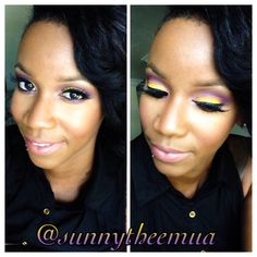 Yellow and purple makeup look. I love doing fun, colorful looks!