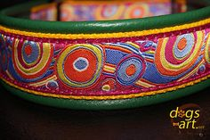 Handmade Martingale Leather Dog Collar BUBLES by by dogsartcollars