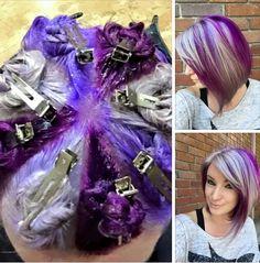 True Battle - Bella's purple hair - no silver though. All purple shades color hair techniques Coiffure Hair, Hair Color Techniques, Coloured Hair, Crazy Hair, Rainbow Hair, Love Hair, Hair Today, Pretty Hairstyles, Black Hairstyle