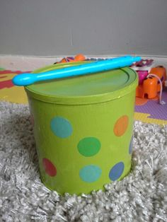 I transformed a coffee can into a drum. Diy baby toy. Diy toy for kids. Visit my blog www.justforthelittleone.com if you would like to see how I did it.