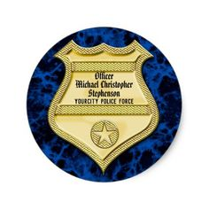 Badge Marble Police Graduation/Retirement Party Classic Round Sticker - graduation stickers diy cyo party