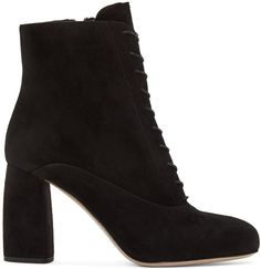 MIU MIU Black Suede Lace-Up Boots. #miumiu #shoes #flats