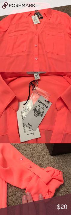 Orange Express portifino shirt NWT orange, express Portofino shirt. Express Tops Blouses