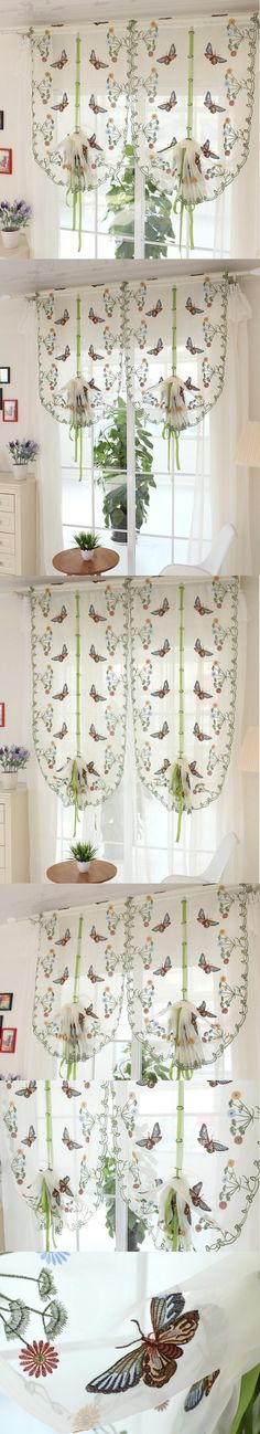 Rustic Butterfly Over Flowers Design Curtain Short Sheer Curtain Panel For  Hotel Home Cafe House Decoration DS079 #50   Sheer Curtains