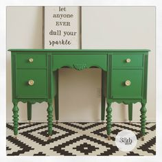 An antique desk and chair receive a makeover with General Finishes Emerald Green Milk Paint and new upholstery. The Cynthia Desk by Thirty Eighth Street.