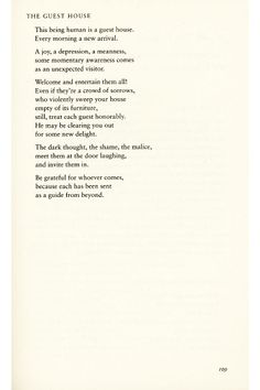 The Guesthouse and other poems by Rumi