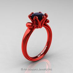 Modern Antique 14K Coral Red Gold 1.5 Carat Black Diamond Solitaire Engagement Ring AR127-14KCRGBD by artmasters on Etsy https://www.etsy.com/listing/196131343/modern-antique-14k-coral-red-gold-15