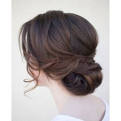 20 Low Updo Hair Styles for Brides ❤ liked on Polyvore featuring beauty products, haircare, hair styling tools, hair, hairstyles and cabelos