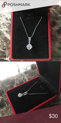 """White Gold Plated CZ Diamond Solitaire Necklace Brand new Price firm I do bundle No trades      Chain Length: 18"""" and 2"""" extension      Stone: Cubic Zirconia      Total Carat weight: 1.00ct     Cut: Round Brilliant      Setting: Prong     Metal: Alloy     Finish: White Gold Plated     Gift box included Jewelry Necklaces"""
