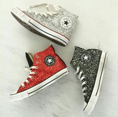 Comfy sparkly converse shoes.